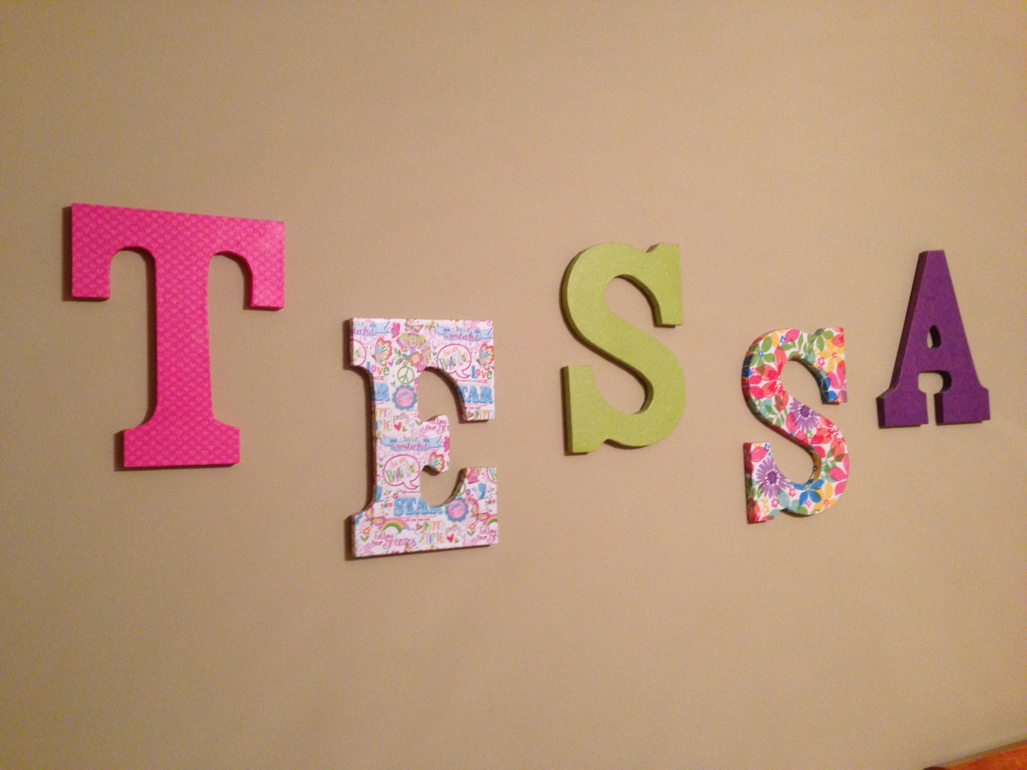 Wooden Letters Covered With Scrapbook Paper