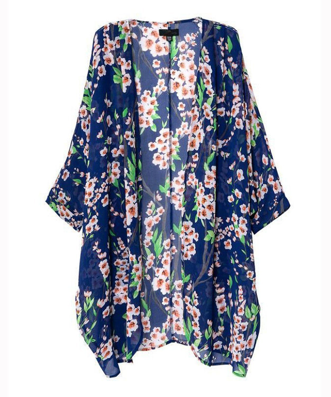 Mixmax Women Flowy Sheer Crop Sleeves Loose Chiffon Kimono ...