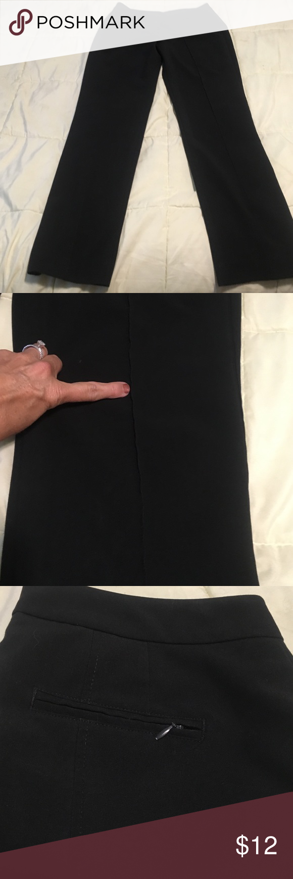 "Black dress pants curvy fit size 8 These black pants have stretch to them and please note photos with the lines going down them has zippered pocket in back no front pockets. They are pretty love to but have lots of use left. Leg inseam 31"". Worthington Pants Straight Leg"