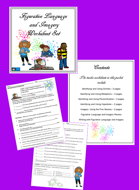 Figurative Language and Imagery Worksheet Set – Imagery Worksheets