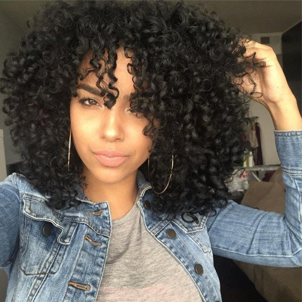 Medium Afro Curly Side Bang Synthetic Wig Wigs Pinterest Side