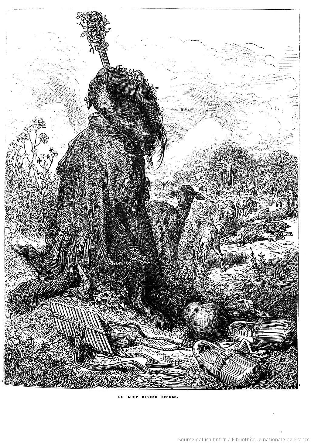 Gustave Dore Illustrations Des Fables De La Fontaine Le Loup Devenu Berger