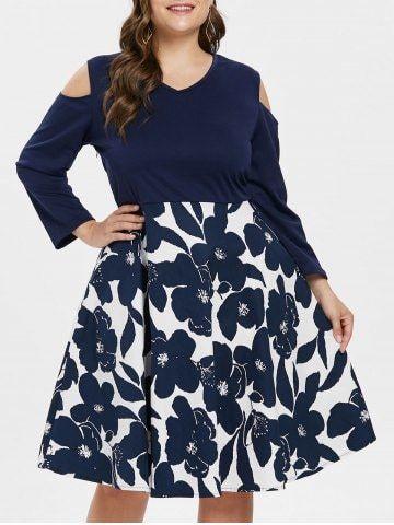3c3b1f115bfb V Neck Plus μέγεθος Floral εκτύπωσης Swing φόρεμα