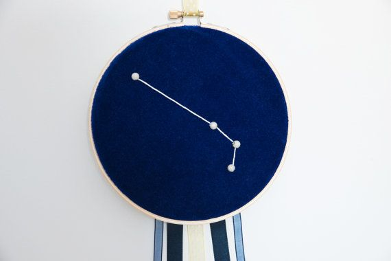 Hand made product Only 1 available  Details: Embroidery of the Aries constellation made on a navy velvet fabric to represent the sky. Silver beads