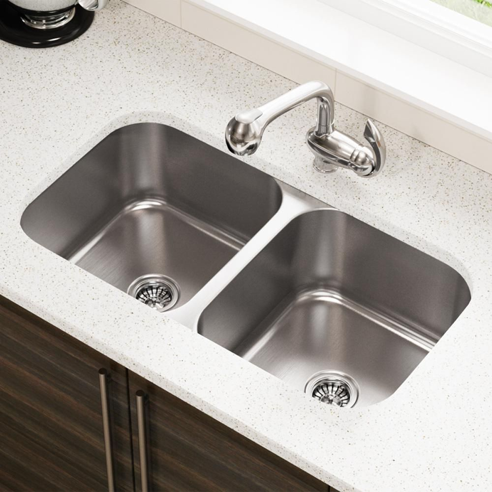 Mr Direct Undermount Stainless Steel 32 In Double Bowl Kitchen