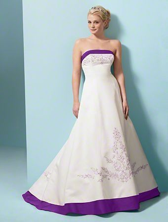 Image For White Wedding Dress With Purple Trim
