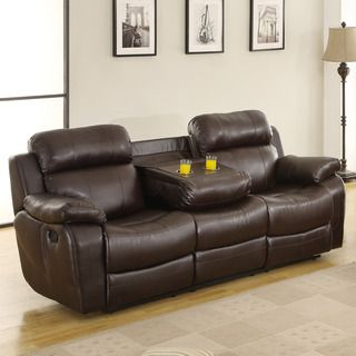 Tribecca home eland brown cupholder recliner sofa by tribecca home best loveseats and recliner Loveseat with cup holders