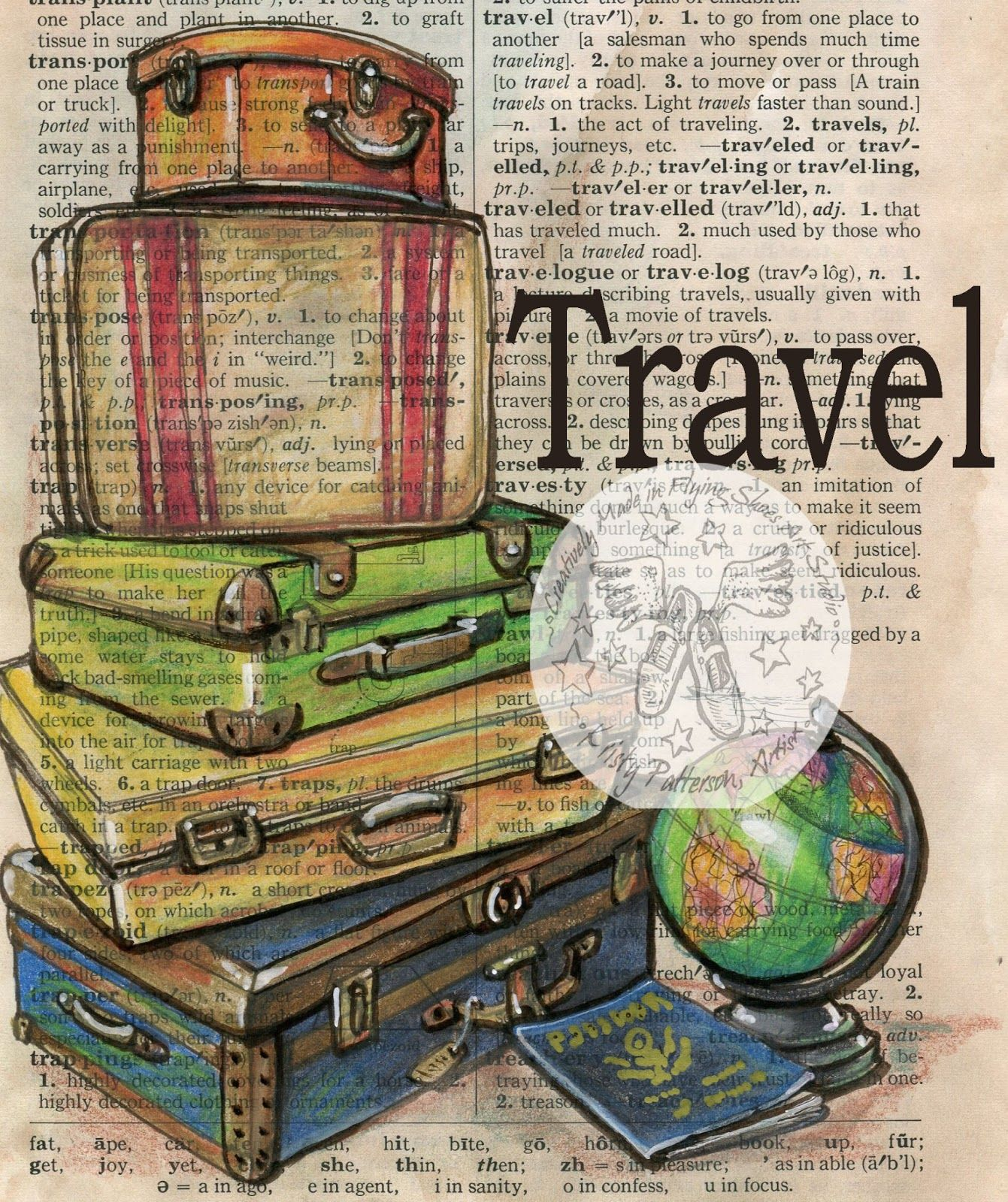 Flying Shoes Art Studio Travel With Passport Dessin Voyage