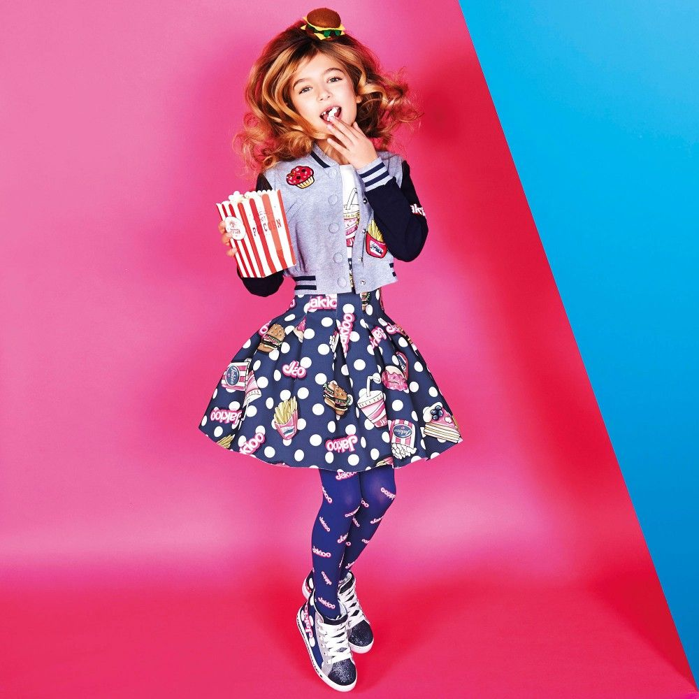 Monnalisa Jakioo - Navy Blue Neoprene Fast Food Skirt | Childrensalon