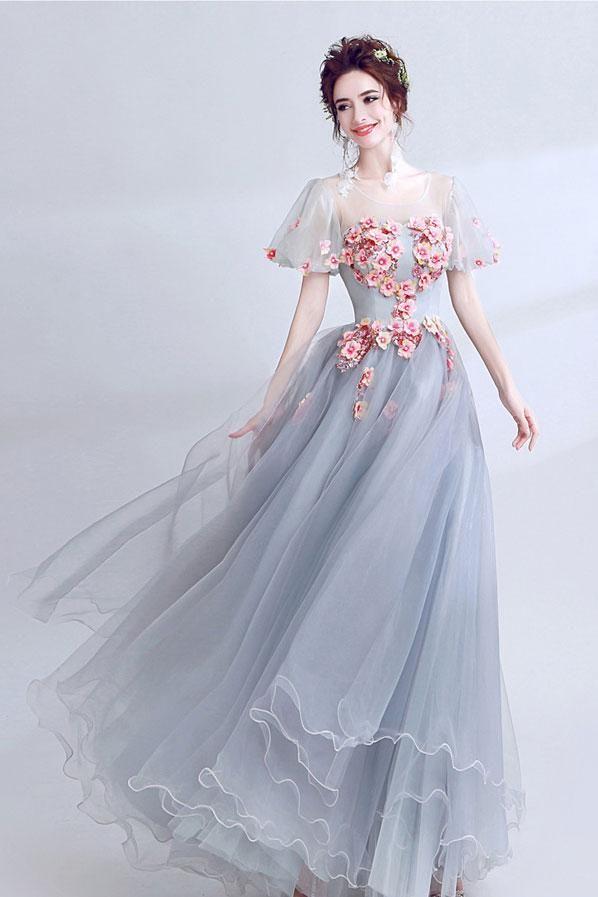 Unique Gray Lace Appliqué Long Prom Dress, Gray 3D Flower