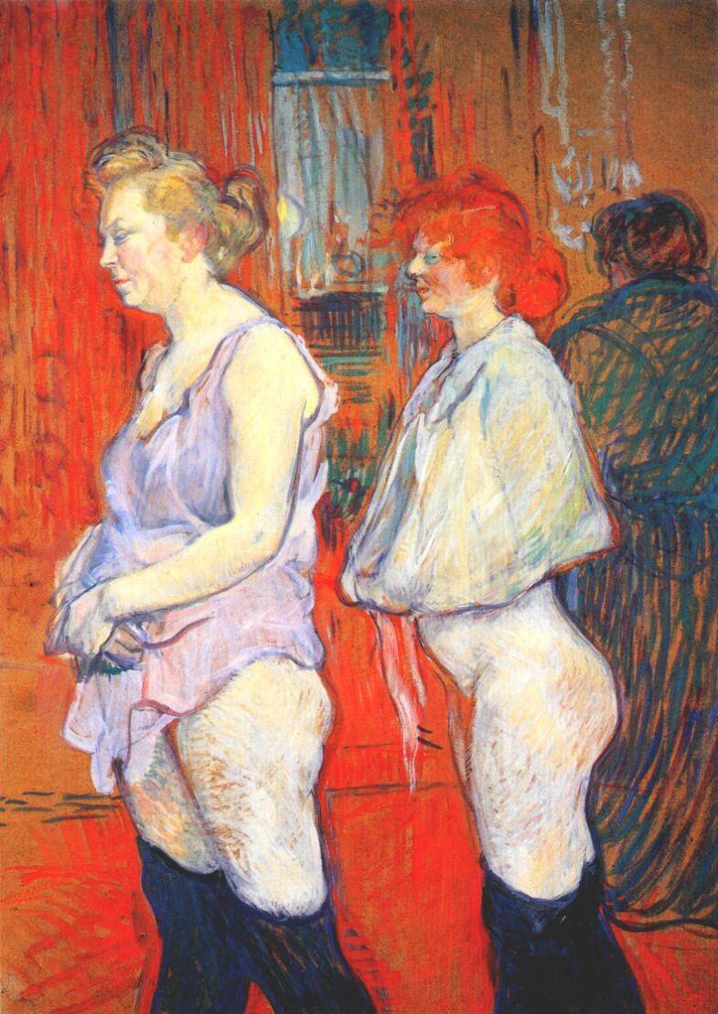 Henri de Toulouse-Lautrec(1864-1901) Rue des moulins, the medical inspection  물랭루즈에서 매춘을 하는 여성들은 정기적으로 성병 검진을 받았다 한다. 그 장면을 묘사하고 있는 그림인데, 줄을 서서 순서를 기다리는 여성들의 표정이 수치스러운 듯 찡그려져 있다.