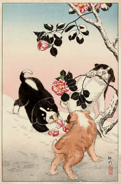 Camellia and Puppies in Snow - Shotei Takahashi - WikiPaintings.org