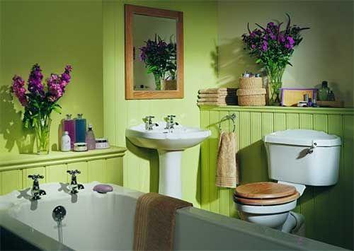 Salle de bain, campagne, vert