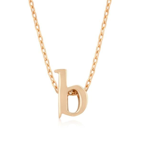 Rose gold initial b pendant initial pendant initial necklaces and pendants charms rose gold bonded simple b initial pendant with lobster clasp set in rose aloadofball Image collections