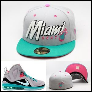 New Era Miami Heat Fitted Hat Cap Designed For Lebron 9 South Beach ... ed42edd2171