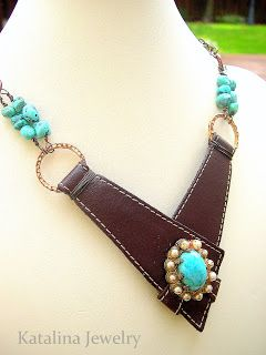 Photo of Turquoise Geometry  – leather necklace made from recycled shoe leather, by Kathy…