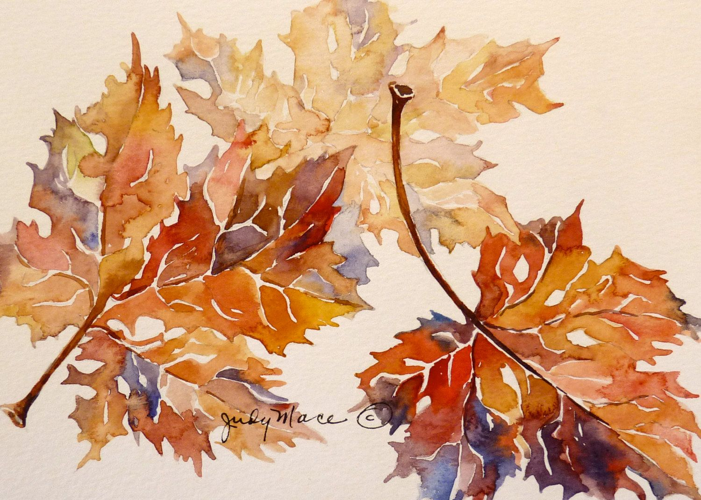 Original handpainted autumn leaves watercolor greeting ...