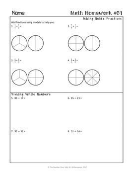 FREE 5th Grade Math Homework, 5th Grade Spiral Review, 5th