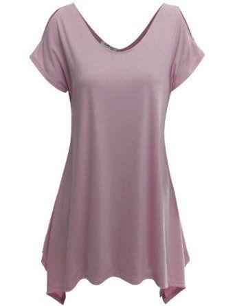 Amazon.com: Doublju Short Sleeve Knit Tunic Tops with Stretch Cotton: Clothing