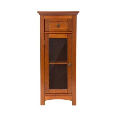 Floor Cabinet With 1 Door Brown Glitzhome Storage Cabinet Wooden Flooring