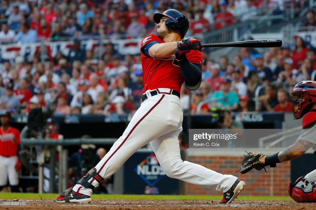 Adam Duvall Of The Atlanta Braves Hits A Two Run Home Run Off Jack Atlanta Braves Braves Duvall