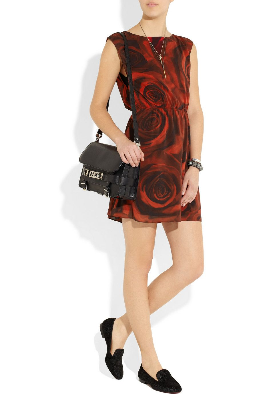 Alice Olivia Corwin Rose Print Stretch Silk Dress