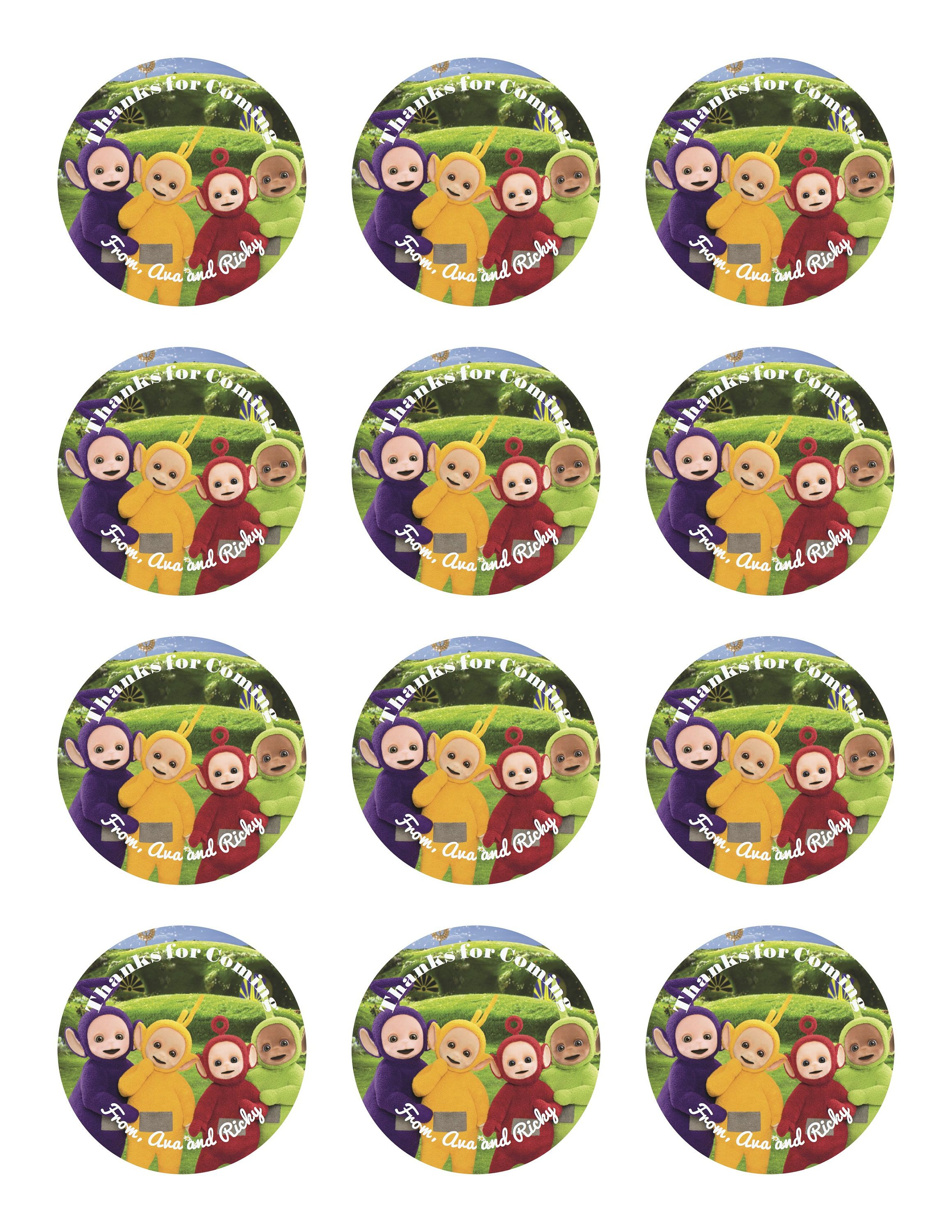 Teletubbies inspired personalized custom stickers cupcake toppers labels favor tags birthday party digital 2 inch round digital file diy by