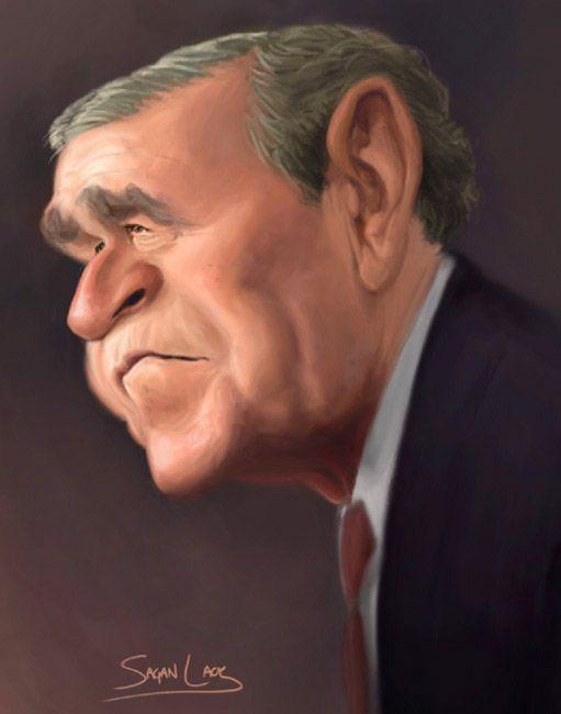 President George W Bush Funny Face Stars Pinterest Caricature
