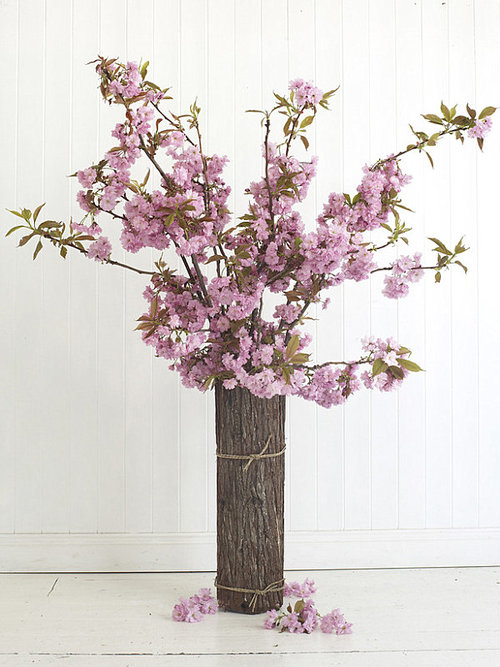 Feminine Cherry Blossom Flowers Arrangement Idea Put Inside Rustic Log Vase With Mini Rope Surrounding The Living Room Festive