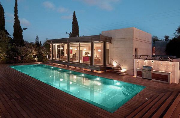Modern House Design With Wooden Deck And Pool | Backyard Ideas
