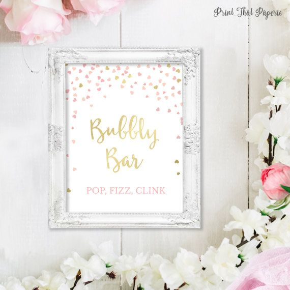 Bridal Shower Bubbly Bar Sign  Pink Bridal by PrintThatPaperie