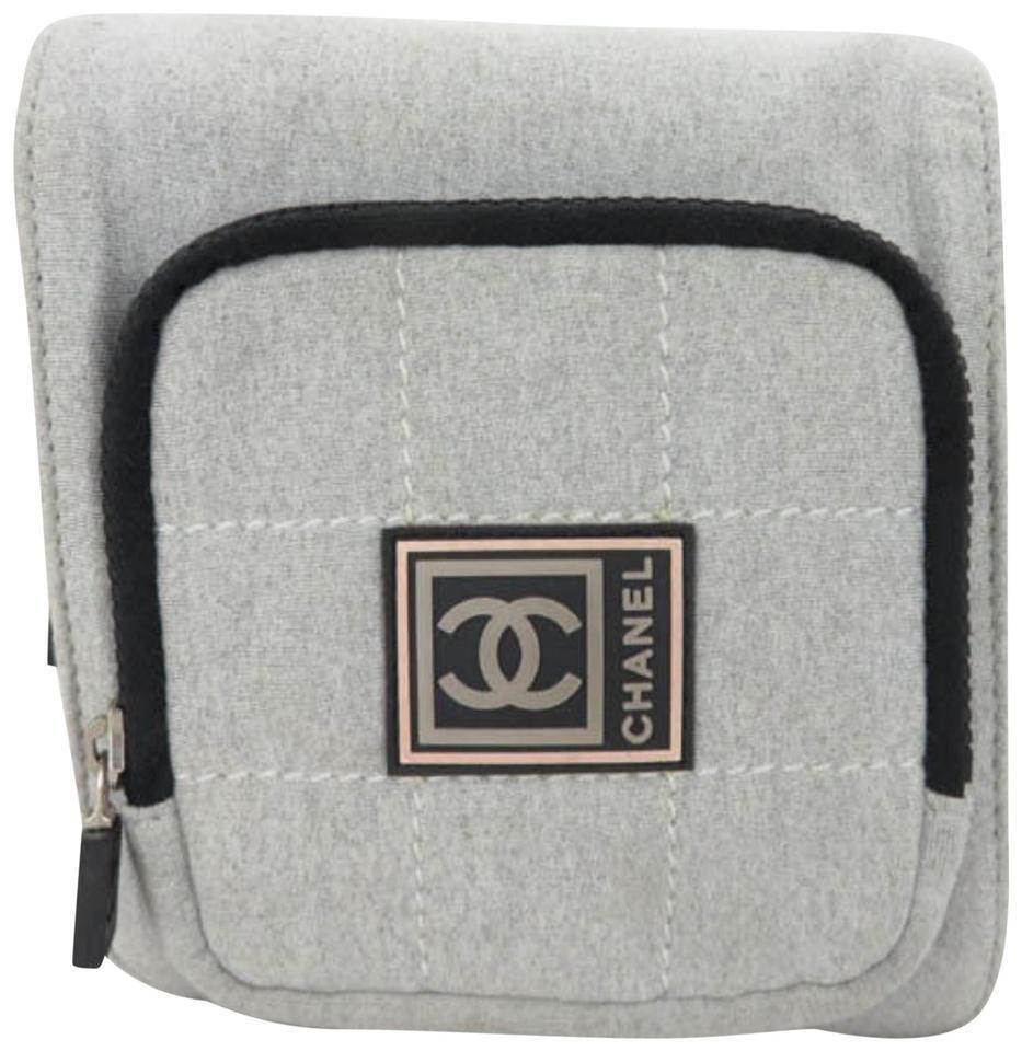 c47b87f5a7da Chanel Cc Logo Sport Waist Pouch Fanny Pack Grey Cotton Cross Body Bag  867345   eBay