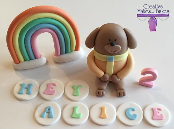 Rainbow Cake Topper Personalized Name Age Icing Fondant Edible Decorations Set