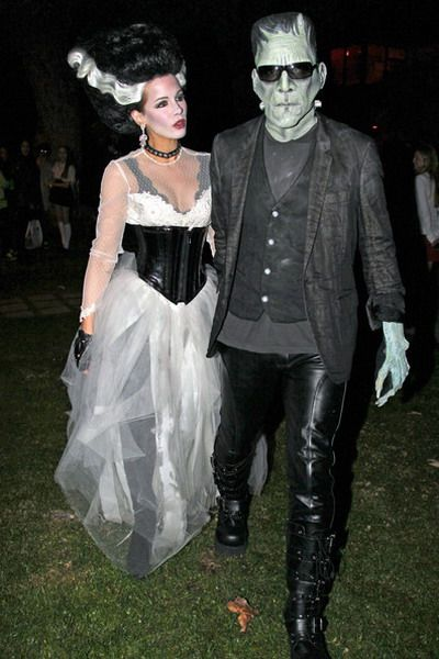 the hollywood couple len wiseman and kate beckinsale head out halloween night in full costumes as diy frankenstein and the bride of frankenstein - Hollywood Couples Halloween Costumes