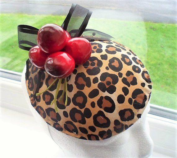 e99592085537ac Cheetah Print Cherry hatinator- Burlesque Pin Up- 1950s Vintage Retro New  Hatinator- 5.05