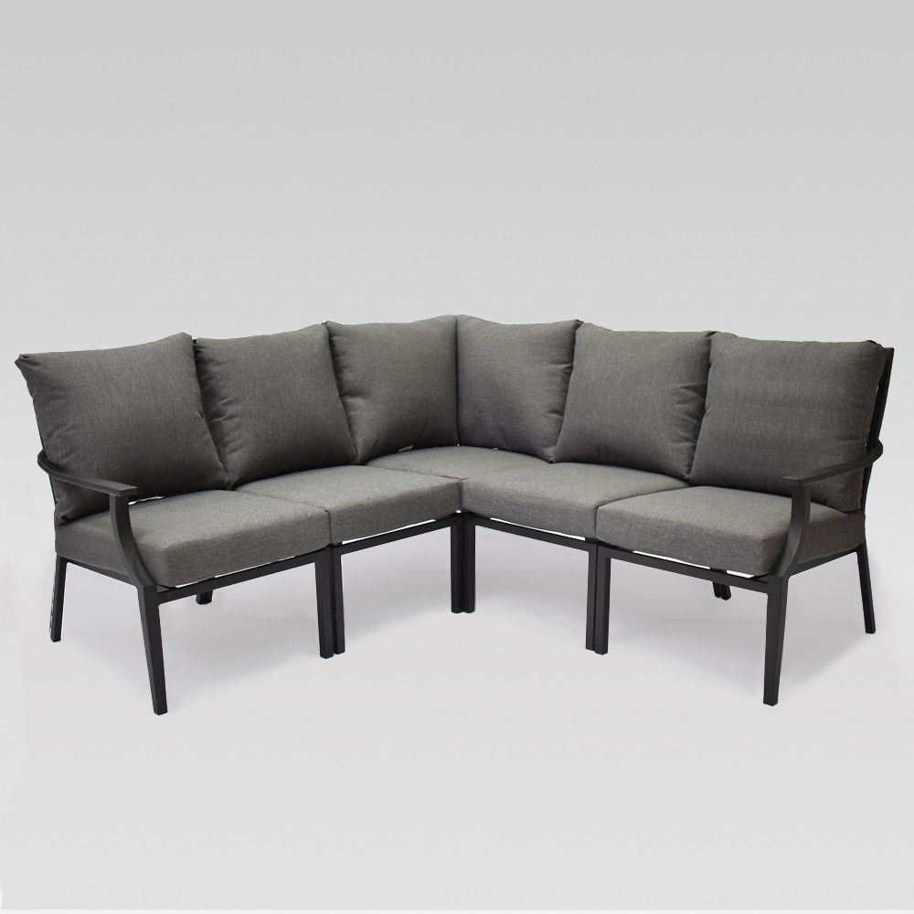 Head Outdoors Toward Comfort With The Fairmont 5 Piece Patio Sectional From Threshold The 5 Piece Patio Sectional Outdoor Sofa Outdoor Furniture Collections