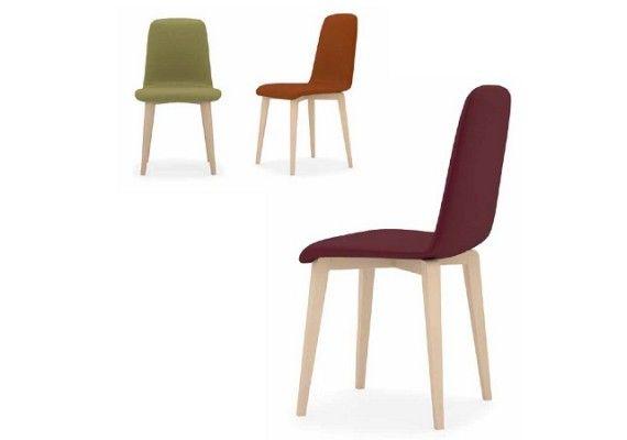 Elegante silla con patas de madera beta w con asiento for Sillas estilo nordico baratas