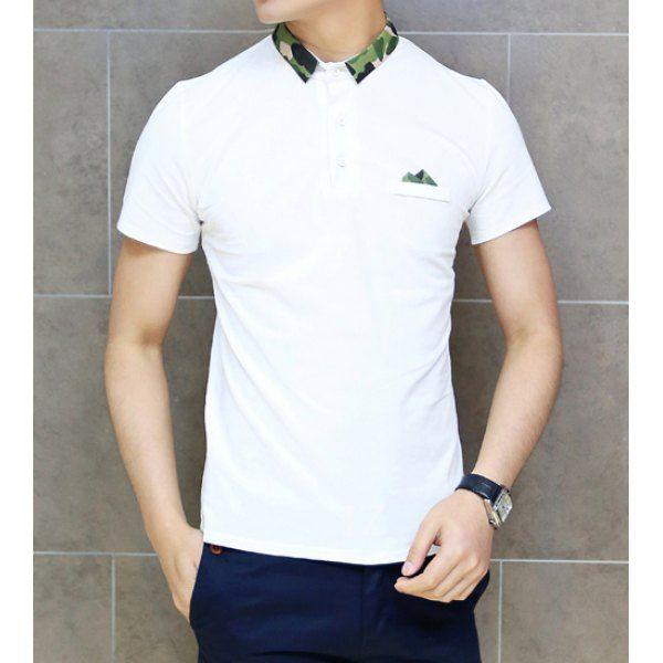 Short Sleeve Turn Down Collar Camo Print Men's Polo Shirt