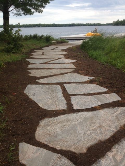Granite Stepping Stone Pathway To Waterfront In Muskoka Acreage Landscaping Lake Landscaping Cottage Outdoor