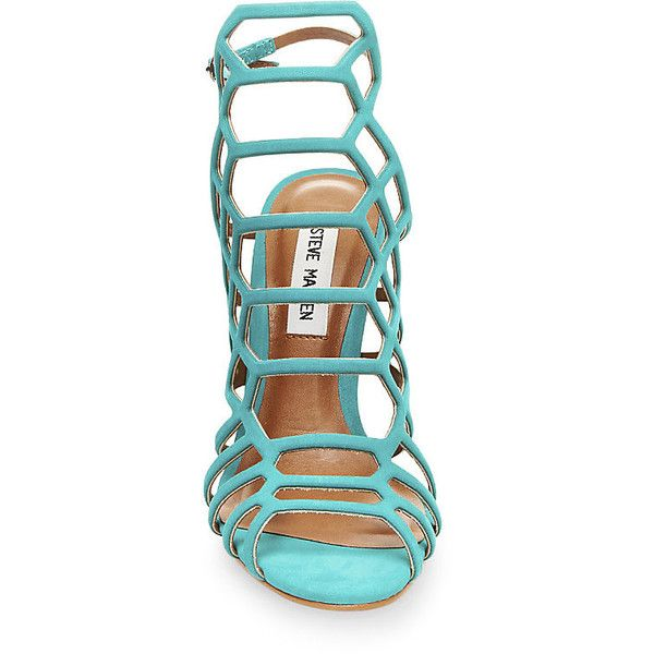 Steve Madden Women's Slithur Sandals (1 570 ZAR) ❤ liked on Polyvore featuring shoes, sandals, green nu, strap sandals, strappy stilettos, high heel shoes, caged sandals and open toe sandals