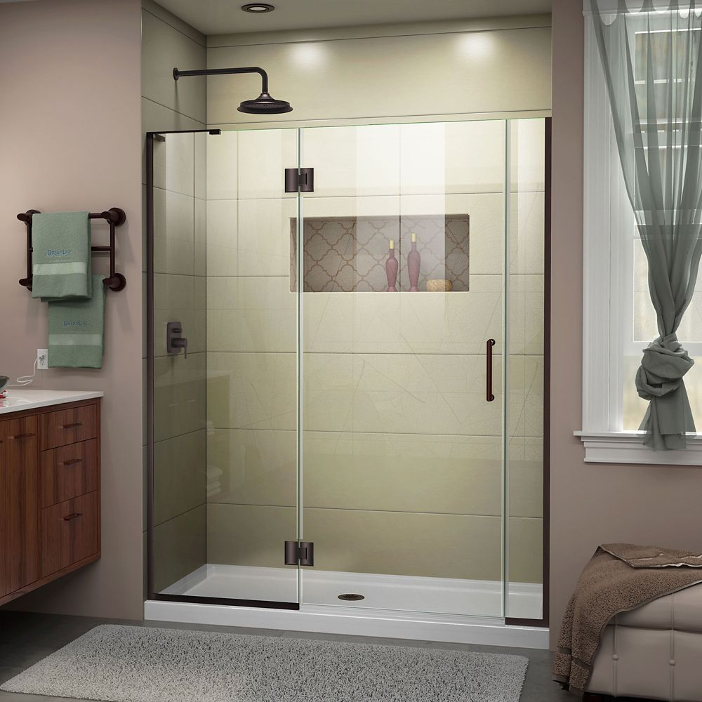Unidoor X 55 1 2 56 Inch W X 72 Inch H Frameless Hinged Shower Door In Oil Rubbed Bronze Finish With Images Black Shower Doors Frameless Hinged Shower Door Shower Doors