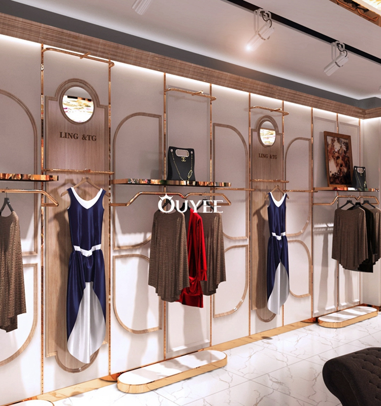 Rose Gold Garment Rack Furniture Designed For Clothing Store