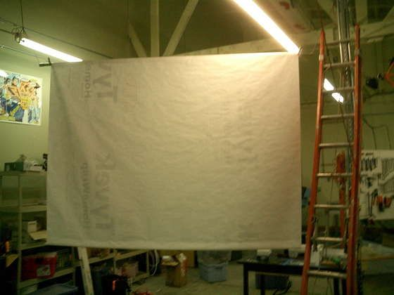 Tyvek Projector Screen 9x7 Or Make Out Of White 12 Gauge Vinyl Shower Curtain Stretched Over A Light Wooden Frame Works Like Champ