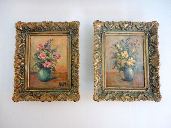 Vintage Original Floral Painting - Original art - Set of paintings- Ornate Gold Frame Floral Art - Shabby Cottage