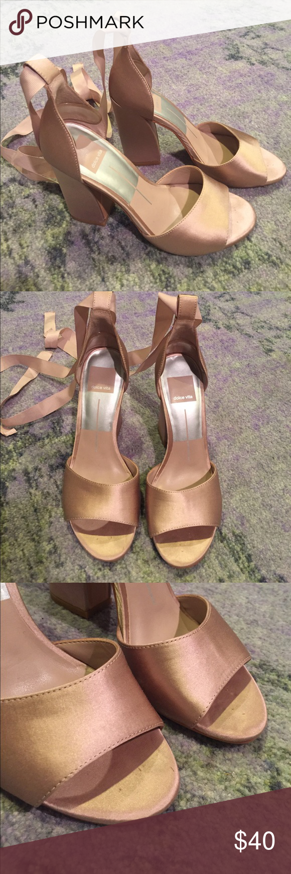 3fbc6cbbc7 Dolce Vita Harvey Satin Heel - Rose, Size 6 Rose colored satin block heel  sandal