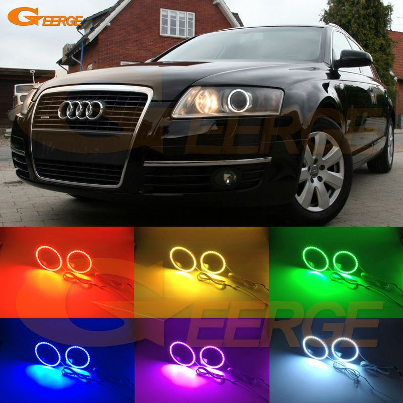 For Audi A6 S6 Rs6 2005 2006 2007 2008 Xenon Headlight Excellent Multi Color Ultra Bright Rgb Led Angel Eyes Kit Halo Rings Car Lights Car Suv Car