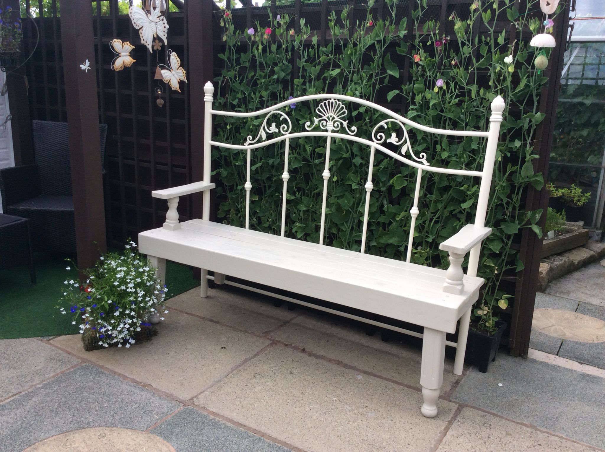 sawn garden wrought patio bench circle made seat iron custom hand lazyk a by c with crafted porch swing buy cedar