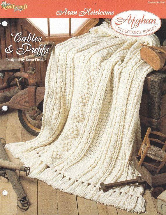 Aran Afghan Crochet Pattern - Cables & Puffs | Manta, Mantas tejidas ...