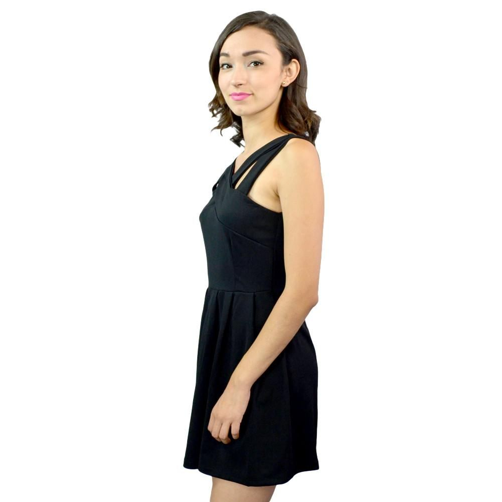 Cross strap sleeveless coctail black short dress cross strap