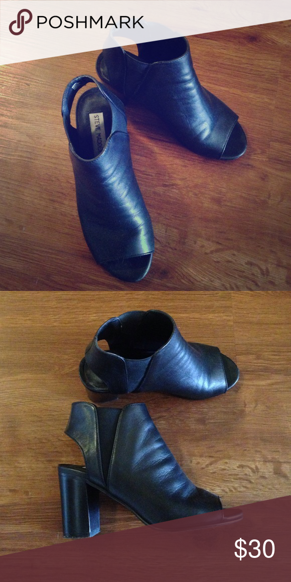 Steve Madden black peep-toe booties, minimal wear Minimally worn!! Size 7, Steve Madden slide on black heels/bootie. Back strap has elastic attached to leather to provide custom comfortable fit. Some wear on the front of right toe Steve Madden Shoes Ankle Boots & Booties